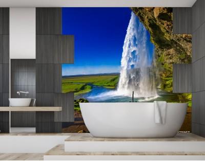 UNDER THE WATERFALL - hartowany panel szklany do łazienki
