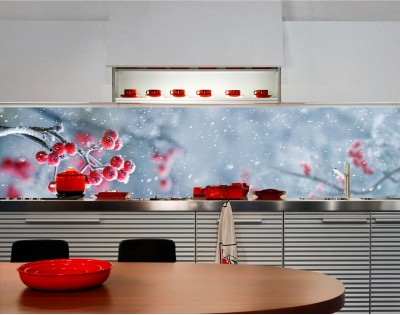 ZIMOWA JARZĘBINA - hartowany panel szklany do kuchni