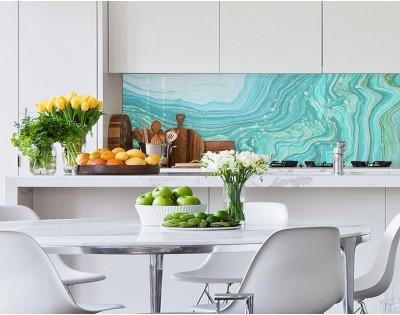 TURKUSOWA FALA - hartowany panel szklany do kuchni