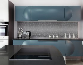GRAY GEOMETRY DASH - hartowany panel szklany do kuchni