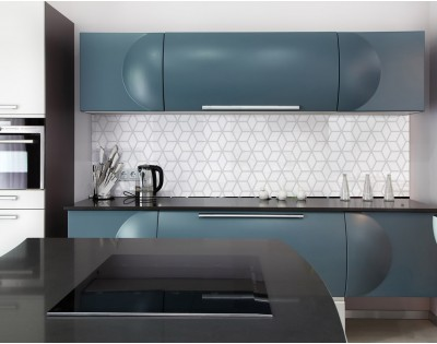 WHITE GEOMETRY DASCH - hartowany panel szklany do kuchni