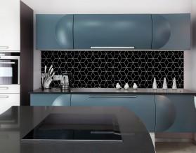 BLACK GEOMETRY DASH - hartowany panel szklany do kuchni