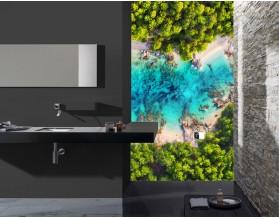TROPIKI Z LOTU PTAKA - hartowany panel szklany do łazienki