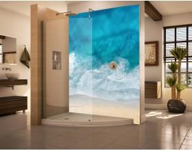 TURKUS MORZA - hartowany panel szklany do łazienki