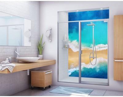 MIĘDZY FALAMI - hartowany panel szklany do łazienki