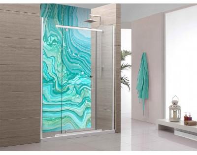 TURKUSOWA FALA - hartowany panel szklany do łazienki
