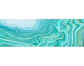 TURKUSOWA FALA - hartowany panel szklany do łazienki - grafika