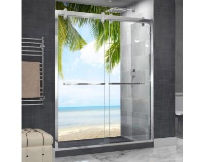 W CIENIU PALMY - hartowany panel szklany do łazienki