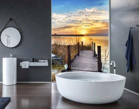 ZACHÓD SŁOŃCA Z POMOSTU - hartowany panel szklany do łazienki