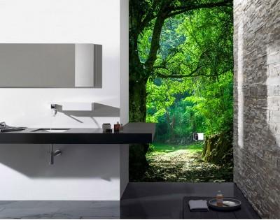 LEŚNA ŚCIEŻKA - hartowany panel szklany do łazienki