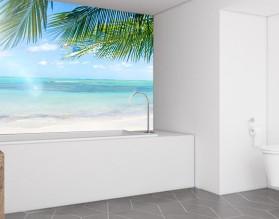 SŁONECZNE TROPIKI - hartowany panel szklany do łazienki