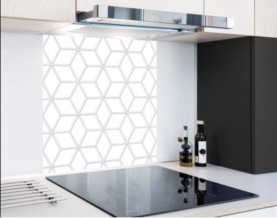 WHITE GEOMETRY DASH - hartowany panel szklany