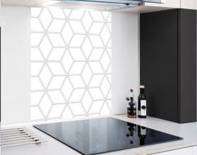 WHITE GEOMETRY DASH - hartowany panel szklany - grafika