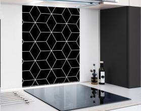 BLACK GEOMETRY DASH - hartowany panel szklany - grafika