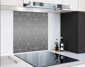 GRAY GEOMETRY DASH - hartowany panel szklany