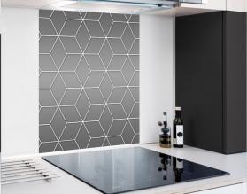 GRAY GEOMETRY DASH - hartowany panel szklany - grafika