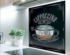 CAPPUCCINO - hartowany panel szklany typograficzny