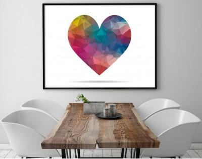 RAINBOW HEART - plakat w ramie