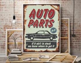 AUTO PARTS - plakat w stylu retro