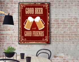GOOD BEER WITH GOOD FRIENDS - plakat w stylu retro - grafika