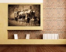 PAROWÓZ - obraz na płótnie w stylu retro