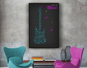 FEEL THE MUSIC - modny plakat w ramie
