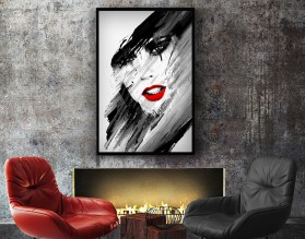 RED LIPS - abstrakcyjny plakat w ramie