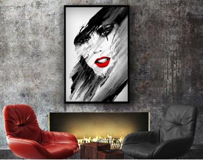 RED LIPS - abstrakcyjny plakat w ramie