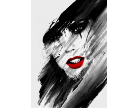 RED LIPS - abstrakcyjny plakat w ramie - grafika