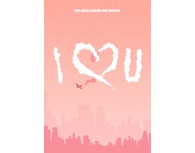 I LUV U - plakat miłosny - grafika