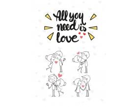 LOVE CARTOON - plakat miłosny - grafika