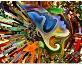 ZAKLĘTA W MOZAICE - panel szklany - grafika