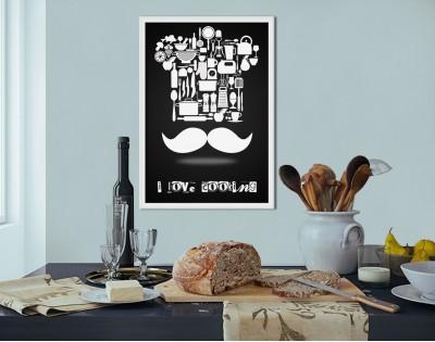 I LOVE COOKING - nowoczesny plakat w ramie