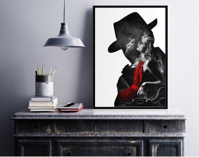 NOIR LADY IN RED - designerski plakat w ramie