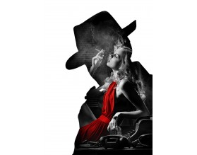 NOIR LADY IN RED - designerski plakat w ramie - grafika