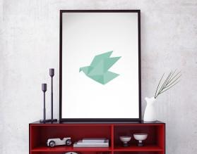 ORIGAMI BIRD 01 - designerski plakat w ramie