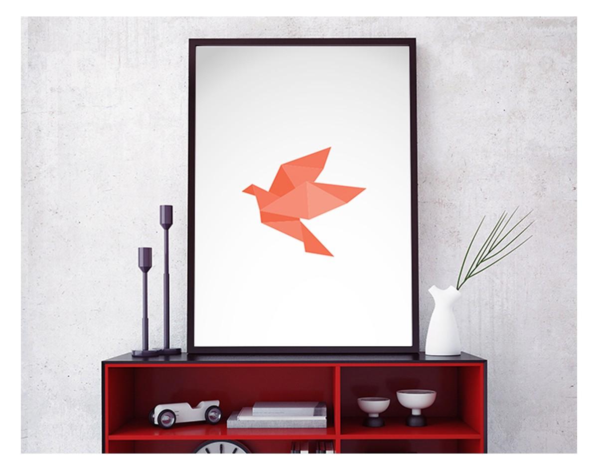 origami bird 03 nowoczesny plakat w ramie