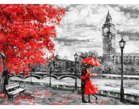 LONDYN W CZERWIENI SZKIC - obraz na szkle - grafika